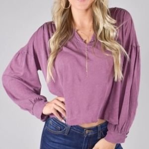 Free People Rush Hour Tee Mulberry Purple Small S